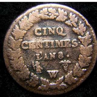 1797年(共和八年)法蘭西第一共和自由女神瑪莉安5仙銅幣,