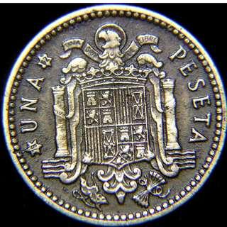 1953年西班牙(Spain)大鷹國徽1彼索塔(Peseta)黃銅幣(佛朗戈將軍像)