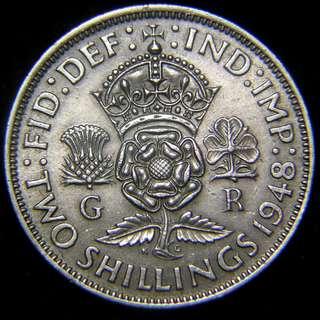 1948年大英帝國三國花2先令(Shilling)鎳幣(英皇佐治六世像, 好品)