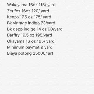 Price list denim selvedge