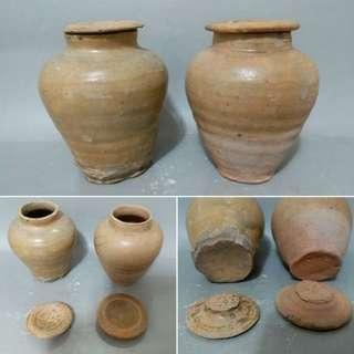 高古青釉瓷蓋罐一對