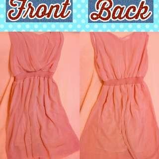 Chiffon Peach Dress Empire Style Garterized Waist