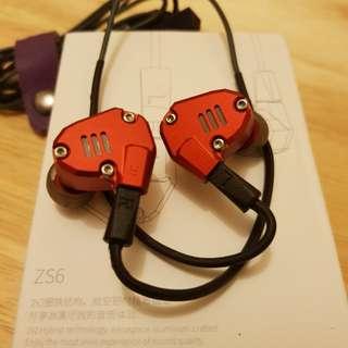 KZ ZS6 red IEM with mic