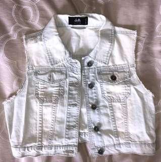 Dotti Bleached Denim Vest - Size 10