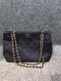 Chanel 黑色帆布格子紋 單肩斜挎包