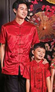 Chinese costume - red satin men shirt