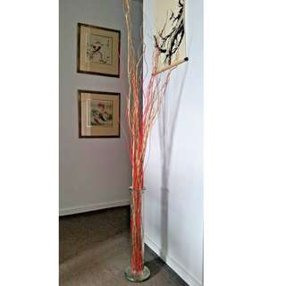 Lovely Tall Glass Vase with Gold and Red Stick Decor Ornaments 1M (H)