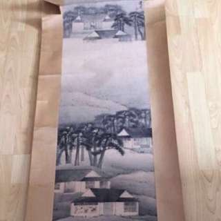 {Collectibles Item - Vintage Ink Painting} Vintage Chinese Ink Painting On Paper 中国山水画 -【夜读】作者 : 朱建中(忠) 軸画面:高【五十三吋】寛【十三吋半】 整副画:高【八十吋】寛【二十吋半】 在一九九三年四月十四日買入