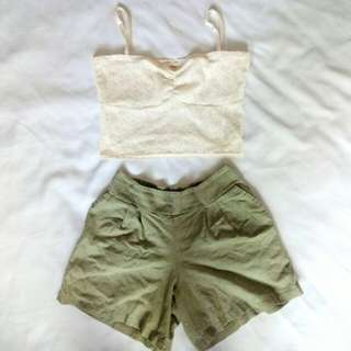 """Forever21"" Crop Top and HW Shorts"