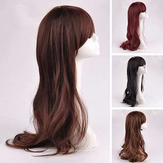 Long Wig hair wig wig wig murah wig cantik curly wig cosplay wig synthetic wig rambut palsu murah party wig sexy wig businesswoman clubbing wig wig with bang straight wig black wig dark brown wigp