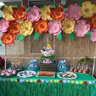 Moana Themed Candy Buffet Set up