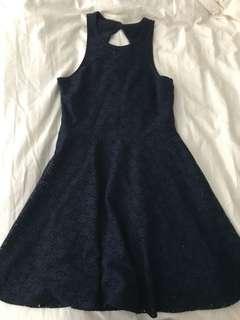 Navy lace triangle back dress