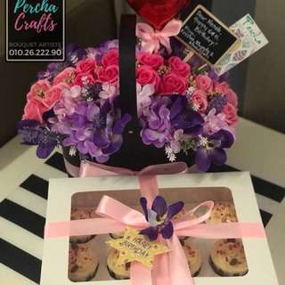 Soap Roses in a Basket with Premium Red Velvet Cupcakes (PACKAGE)