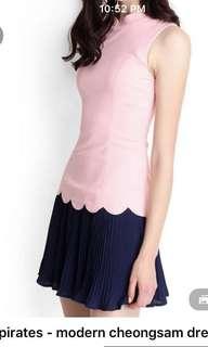 Lily pirates dress cny . Cheongsam dress with pleats #huat50sale