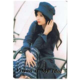 T-03,NO.ID.6104,周慧敏 ,彩照下有金字-VIVIAN IS MY IDOL !背面曲詞-藍調怨曲,全購系列-原價6折