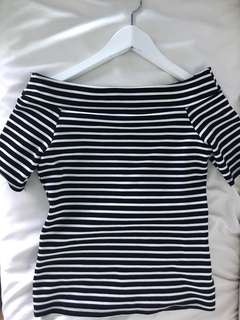 Off Shoulder black and white stripes