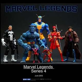 MOSC Marvel Legends Series 4 Punisher Beast Elektra Gambit (X-Men Select)