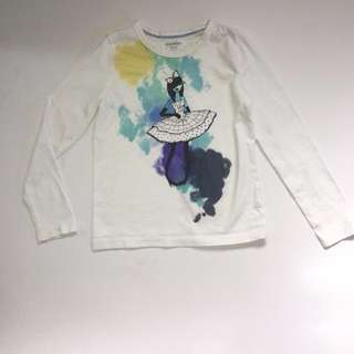 Old Navy White Long Sleeves Ballerina Print