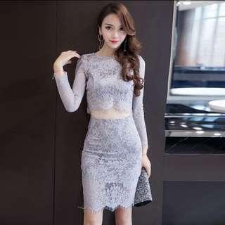 Sexy clubbing 2 piece Lace Dress grey