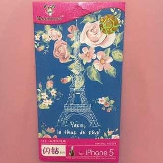 [包平郵] 浪漫 碎花 巴黎鐵塔 iphone 5電話保護貼 (底面兩張)
