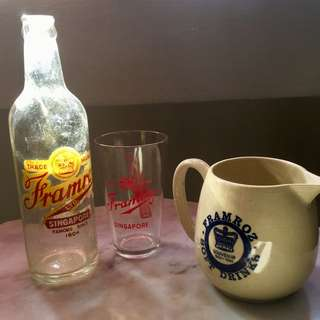 Vintage Framroz Ltd Singapore bottle/Glass and mug