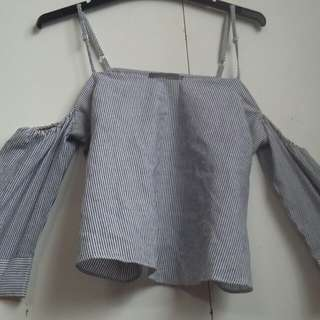 Grey and white striped no shoulder top