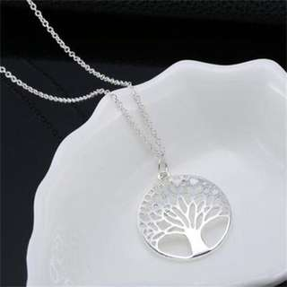 Silver Tree Of Life Pendant and Dangling Earrings Set
