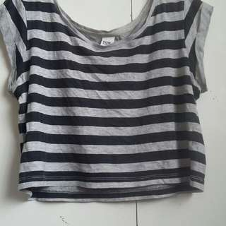 Black and grey striped cropped top.
