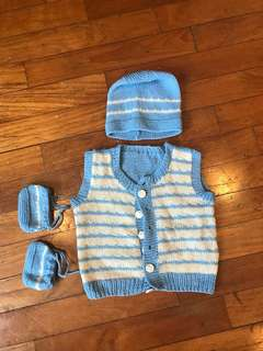 Hand made woollen cardigan set for new born baby
