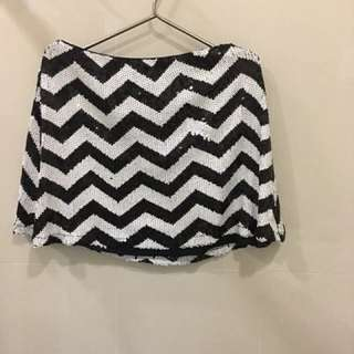 F21 Black and white Sequinned skirt
