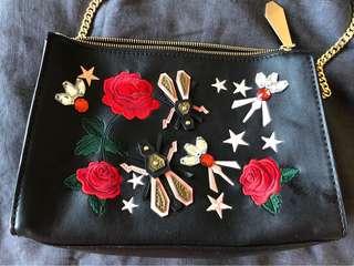 Zara embroidered embellished crossbody bag