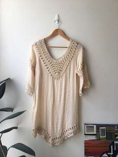 Tan crochet dress
