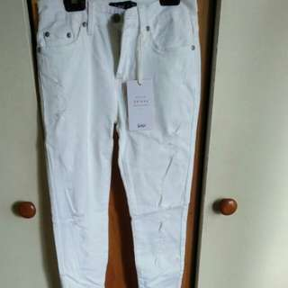 High waisted white jeans 7/8