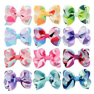 🦁Instock - multicolor ribbon hair pins, baby infant toddler girl children sweet kid happy 123456789