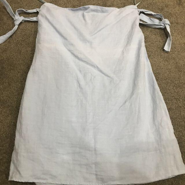 100% Linen Pale Blue Dress Size 8