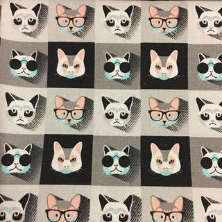 Cool cats 🐱 cotton canvas fabric/kain diy cloth