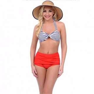 Striped/Red High Waist Bikini