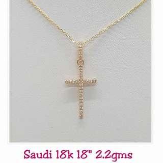 18K|750 Studded Cross Necklace Genuine Gold
