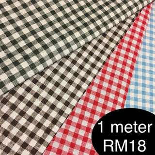Sweet checkered fabric/kain diy cute cotton linen cloth