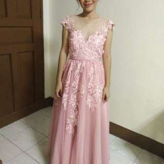 Pink Lace Prom Gown