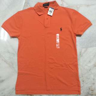 Ralph Lauren Men's Orange Slim Fit Polo Tee (Size M) from U.S