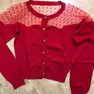日牌🇯🇵Japan Brand 波點薄紗透視肩膀金鈕扣鮮紅色長袖短身外套 transparent lace gold buttons Red Cardigan