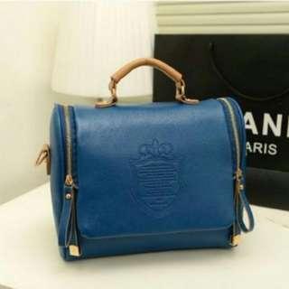 Renie Blue Vintage Crest Hand Bag