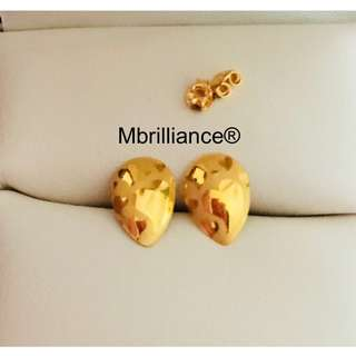 Pear shape Hearts earstuds  916 Gold by Mbrilliance
