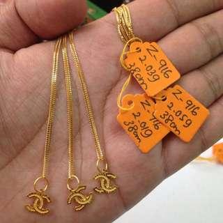 Rantai emas + loket kanak2 (emas 916)
