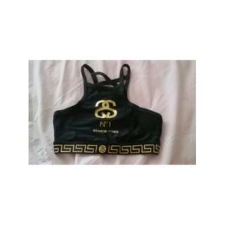 Stussy Black and Gold Halter Strappy Swim Top