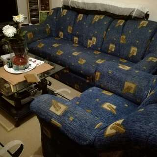 Sofa (Blue with printed brown leaves)