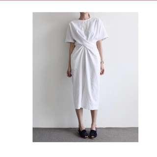 Korean Waist Tie Dress (white)