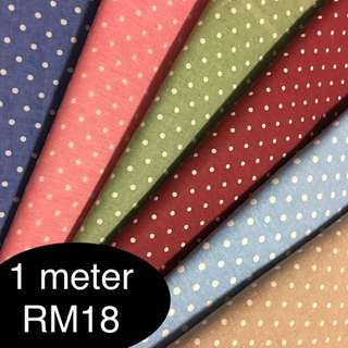 Sweet polka dot fabric/kain diy cute cotton linen cloth