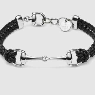 Gucci Sterling 925 Silver with Braided Leather Bracelete 幼織皮繩純銀手鏈